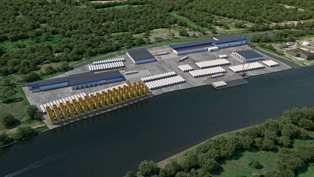 An image rendering Equinor's manufaturing site at Port of Albany